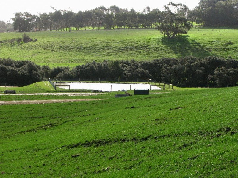 Liner dam central to lower growing area.